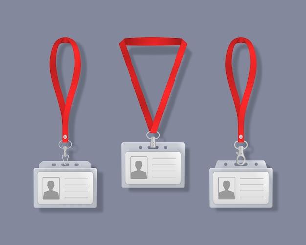 Professionele identiteitskaarthouders met veters illustratie