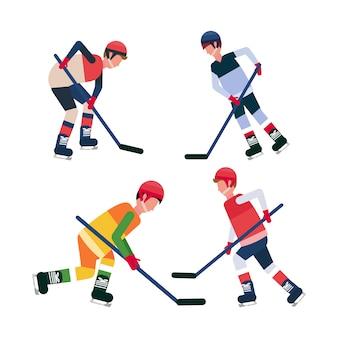 Professionele ijshockeyspelers houden stokschaatsen sporters collectie mannelijke stripfiguur volledige lengte plat geïsoleerd