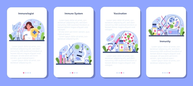 Professionele immunoloog mobiele applicatie app-schermen ingesteld.