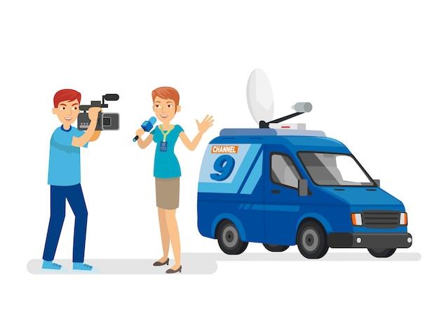 Professionele journalist en de cameramannen