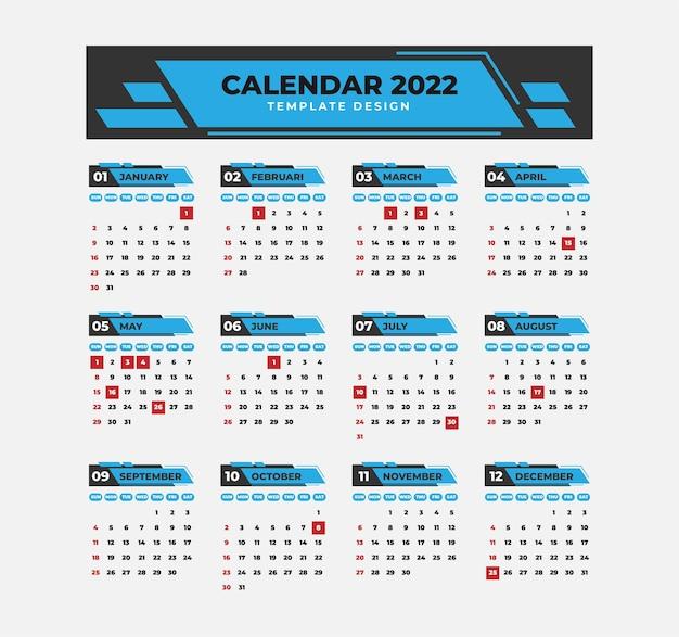 Professionele kalender 2022 sjabloon met geometrische stijl