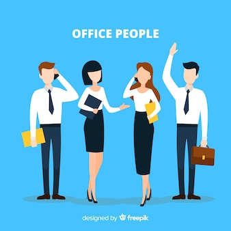Professionele kantoormedewerkers met een plat ontwerp