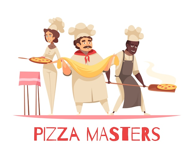 Professionele koken pizza samenstelling