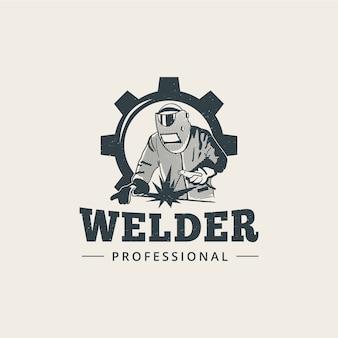 Professionele lassers met complete attributen logo sjabloon