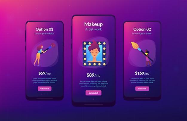 Professionele make-up app interface sjabloon.