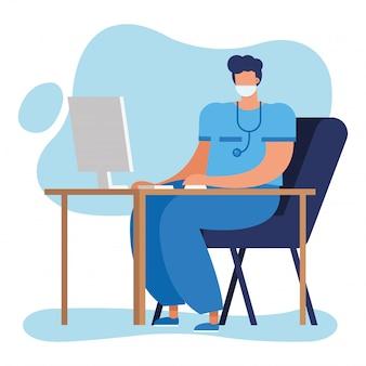 Professionele mannelijke arts met een stethoscoop met behulp van computer