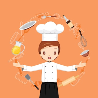 Professionele mannelijke chef-kok met keukenapparatuur-objecten