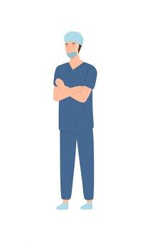 Professionele mannelijke chirurg die veiligheidsmasker en hoed op witte achtergrond draagt.