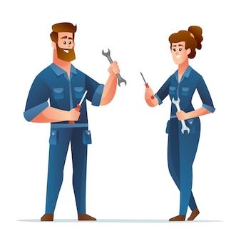 Professionele mannelijke en vrouwelijke monteur met sleutel- en schroevendraaierkarakters