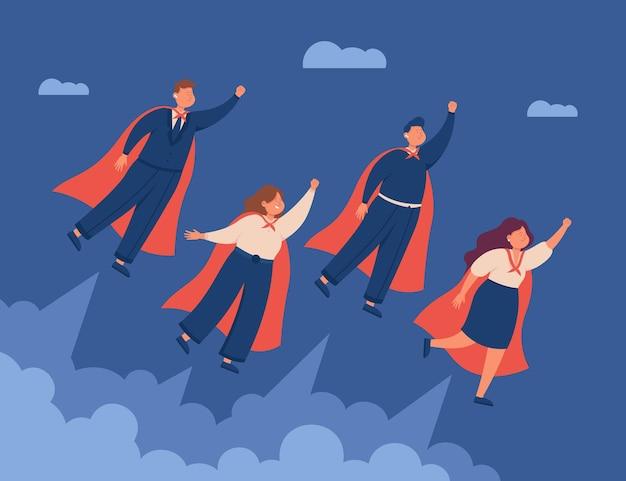 Professionele mannelijke en vrouwelijke zakenmensen die in capes vliegen