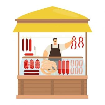 Professionele mannelijke karakter slagerij, handel vleesproduct en worst, straatkiosk om halffabrikaat gehakt op wit te verkopen, illustratie.