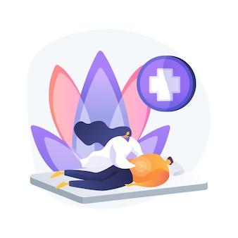 Professionele massagetherapie abstract concept vectorillustratie. professionele sporttherapie, massage-blessurebehandeling, wellnessdiensten, spa-ontspanning, abstracte metafoor voor alternatieve geneeskunde.