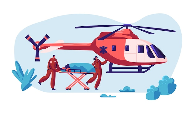 Professionele medicijnredding. paramedicus urgentie gewond personage door helikopter naar ziekenhuis voor gezondheidszorg. copter fast transport vlieg naar kliniek voor hulp. platte cartoon vectorillustratie