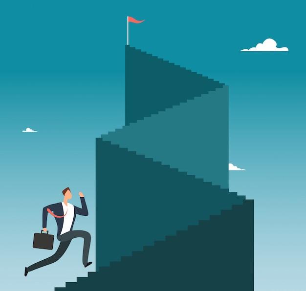 Professionele mens die trap aan bergpiek lanceren. zakelijke succes vector concept