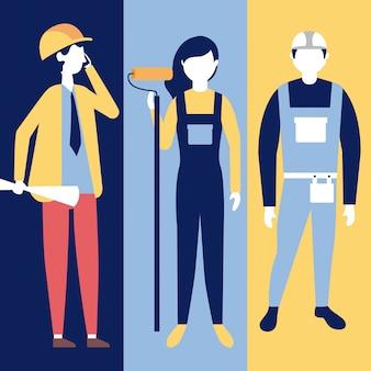 Professionele mensen die aan de bouw werken