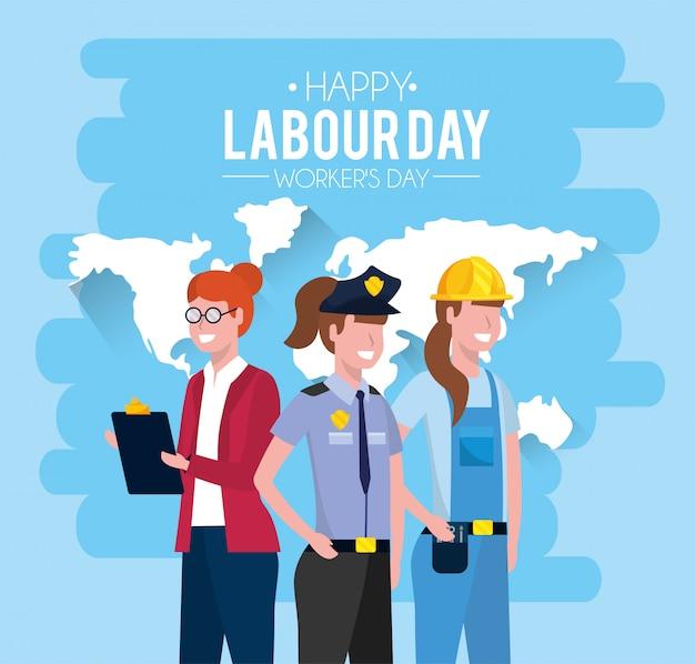 Professionele mensen met uniform tot dag van de arbeid