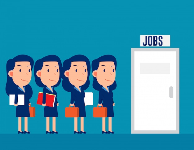 Professionele mensen staan in de rij voor de banen