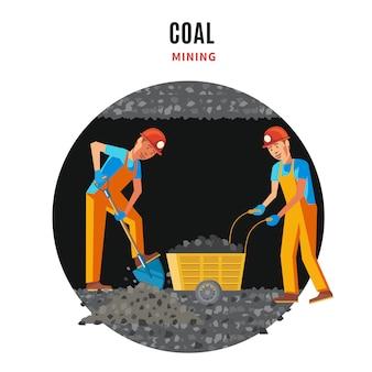 Professionele mijnwerkers mensen platte sjabloon