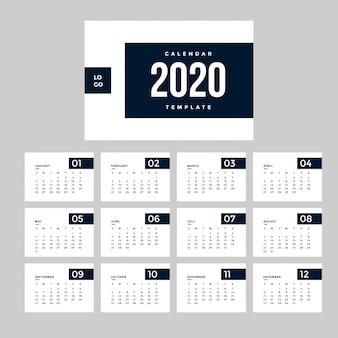 Professionele minimalistische 2020 kalendersjabloon