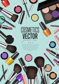 Professionele mode make-up realisme vector banner