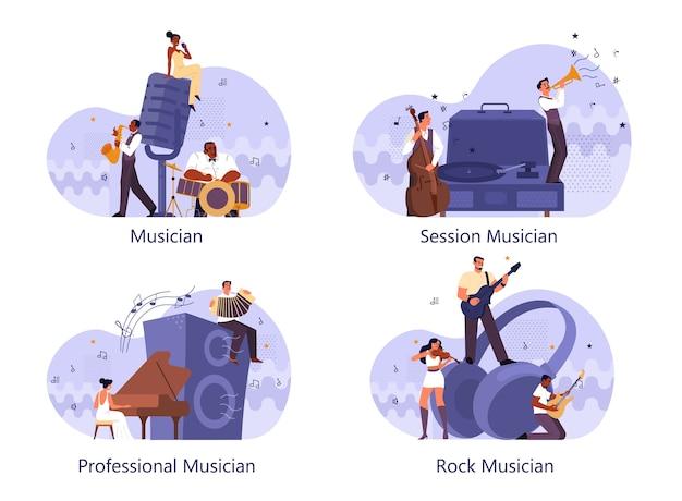 Professionele muzikant spelende muziekinstrumenten set. jonge artiest die muziek speelt met professionele apparatuur. getalenteerde muzikanten, optreden van jazz en rockband. .