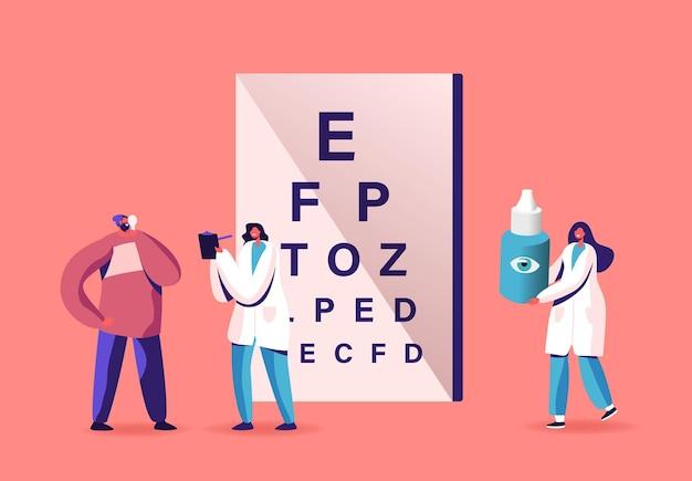 Professionele opticien examen visiebehandeling. oogarts doctor character check gezichtsvermogen voor brillen