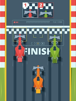 Professionele raceauto's op finish bovenaanzicht