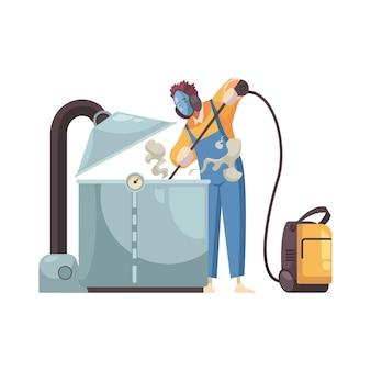 Professionele reiniger in beschermend pak wasapparatuur plat