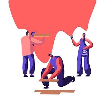 Professionele reparateur in uniform voor renovatiewerkzaamheden. vrouw schilder om muur met penseel te schilderen. man lag laminaat op de vloer. workman houden handboor. platte cartoon vectorillustratie
