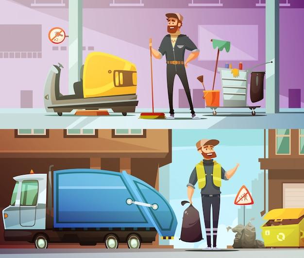 Professionele schoonmaak- en vuilophaaldienst op het werk