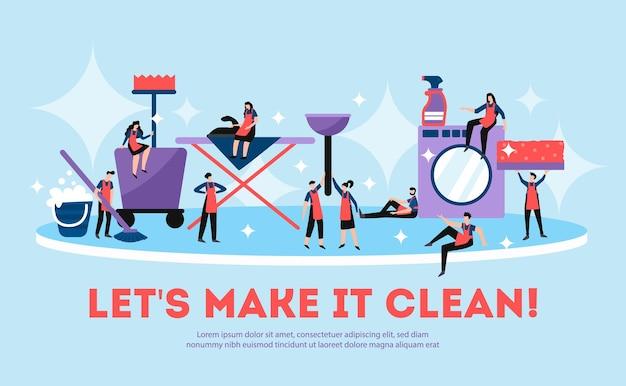 Professionele schoonmaak service illustratie