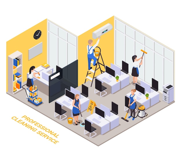 Professionele schoonmaakservice isometrische samenstelling met tekst en binnen kantooromgeving werkplekken computers en werknemersgroep