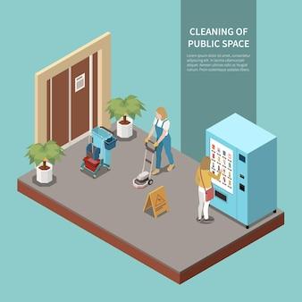 Professionele schoonmaakservice voor openbare foyers en entrees met isometrische samenstelling van industriële stofzuigers