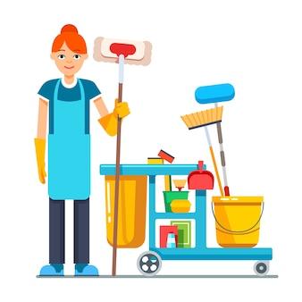 Professionele schoonmaker vrouw met portierwagentje