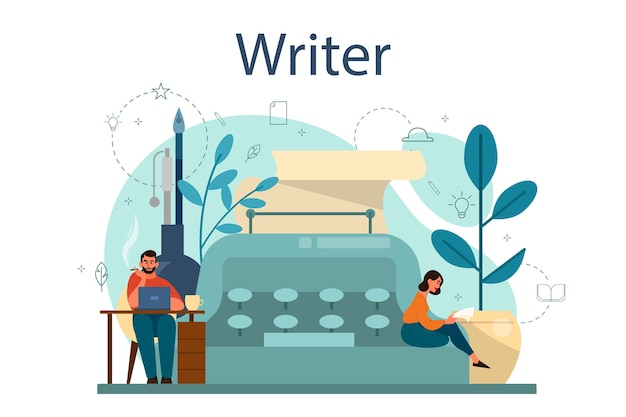 Professionele schrijver of journalist concept illustratie. idee van creatieve mensen en beroep. auteur die het script van een roman schrijft. geïsoleerde vectorillustratie in vlakke stijl