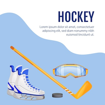 Professionele sportuitrusting op sociale media. hockeyartikelen. web banner ontwerpsjabloon. uitrusting voor training