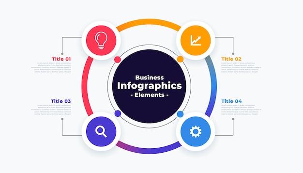 Professionele stappen infographic sjabloon in cirkelvormige stijl