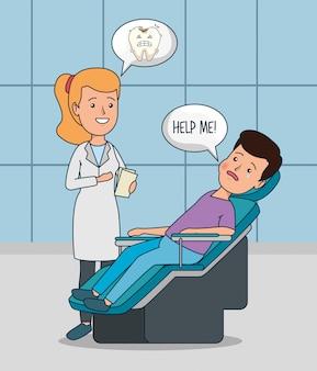 Professionele tandartsvrouw met geduldige behandeling