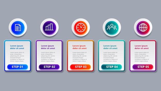 Professionele tijdlijn infographic sjabloon met 5 stappen
