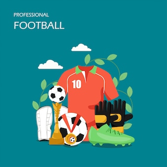 Professionele voetbal vector vlakke stijl ontwerp illustratie