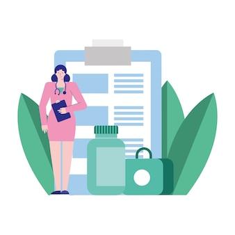 Professionele vrouwelijke arts met checklist en drugs avatar karakter illustratie