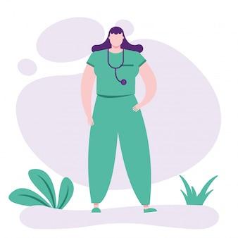 Professionele vrouwelijke arts met een stethoscoop
