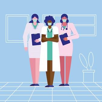 Professionele vrouwelijke artsen die medische maskers dragen