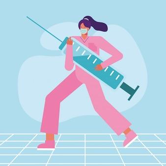 Professionele vrouwelijke chirurg die medisch masker met injectie draagt