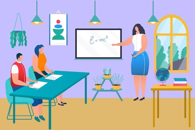 Professionele vrouwelijke leraar karakter leerproces op school jonge student verkrijgt kennis platte vec ...