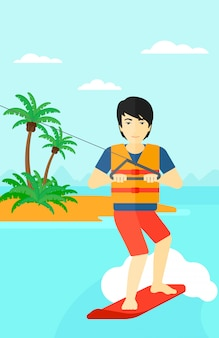 Professionele wakeboard sportman