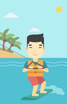 Professionele wakeboard sportman.