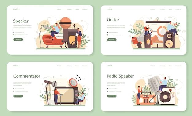 Professionele webbanner of landingspagina-set voor spreker, commentator of stemacteur