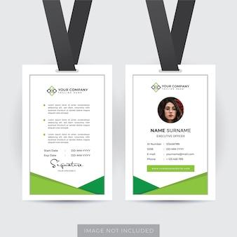 Professionele werknemer id-kaartsjabloon