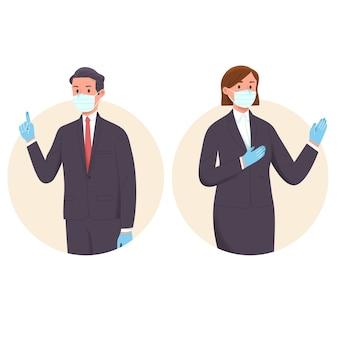 Professionele werknemer waarschuwt en waarschuwt voor viruspreventie